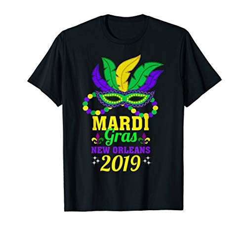 Mardi Gras New Orleans 2019 Beads Mask T-shirt