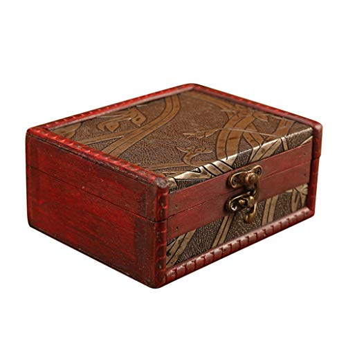 Bellaier Jewelry Storage Box Vintage Wood Handmade Carved Wooden Box Taro Cards Box with Mini Metal Lock for Storing Jewelry Treasure Pearl, Home Decor, Organizer Chest Case Gift Box