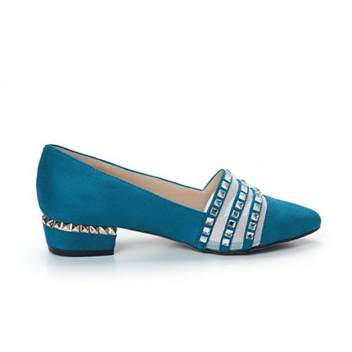 VogueZone009 Womens Closed Pointed Toe Low Heel Blend Materials PU Solid Pumps with Glass Diamond, Blue, 5.5 UK