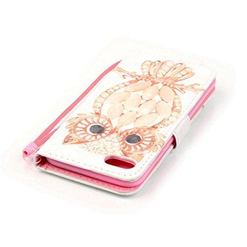Funda Iphone 7 / 8, Plumas de colores Funda Libro de Cuero Flip Cover con TPU Case Interna Para Iphone 7 / 8, Wallet Case con Soporte Plegable, Ranuras para Tarjetas y Billete Buho de caparazón