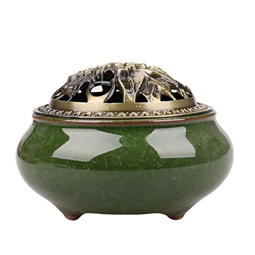 Ceramics incense burners / cones Incense burner Holder home decor (Malachite green incense burners) by Qiaoya