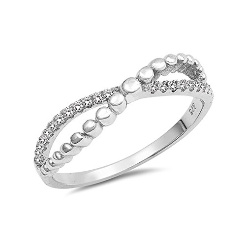 .925 Sterling Silver Beaded Cubic Zirconia Crossover Ring ()