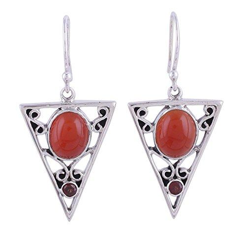 NOVICA Multi-Gem Carnelian .925 Sterling Silver Dangle Earrings 'Radiant Triangle'
