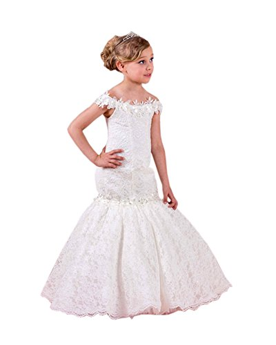 Beautyfudre Girls' Off Shoulder Lace Mermaid Pageant Gown Flower Girl Dress for Kids Children White Age12 by Beautyfudre