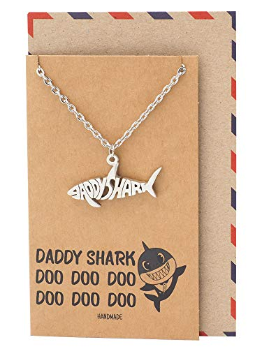 Quan Jewelry Baby Shark Pendant Necklace, Funny Father's Day Gifts with Greeting Card