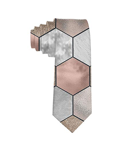 Casual Mens Necktie Suit Accessories Tie for Conference, Party, Wedding, Rose Gold Marble Texture Geometry]()