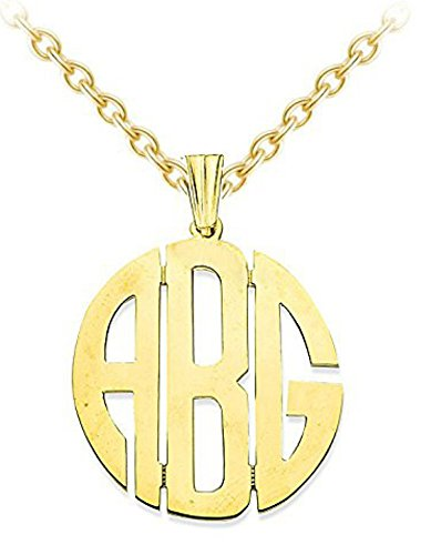 Personalized Monogram Initials Nameplate Necklace 20MM Sterling Silver or Yellow Gold Plated Silver by Rylos