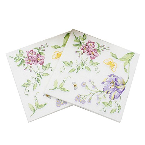 WallyE Flower and Butterfly Paper Napkins for Thanksgiving or Tea Party, Shabby Chic Decoupage Supplies, 20 Pack
