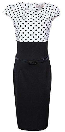 Merope J Womens Printed Ruffles Neck OL Pencil Contrasted Dress (M, White+Black Dot) (Ladies Dress Church Mothers Suit)