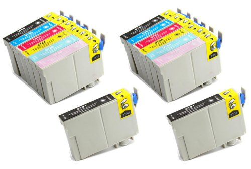 T078620 Compatible Light (14 Pack - Toners & More ® Remanufactured Inkjet Cartridge Set for Epson T078 #78, T078120 Black, T078220 Cyan, T078320 Magenta, T078420 Yellow, T078520 Light Cyan, T078620 Light Magenta, Compatible)