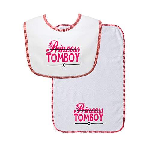 Princess X Tomboy Cotton Boys-Girls Baby Bib & Burb Set Gingham Trim - Red, One Size -