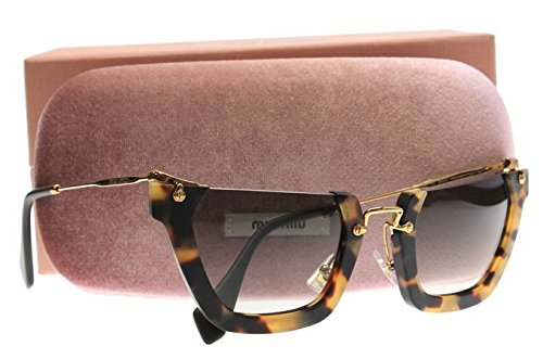 Miu Miu 12Qs HAN0A7 Sand Yellow / Havana Wink Cats Eyes Sunglasses Lens - Miu Aviator Miu Sunglasses