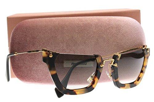 Miu Miu 12Qs HAN0A7 Sand Yellow / Havana Wink Cats Eyes Sunglasses Lens - Sunglasses Aviator Miu Miu