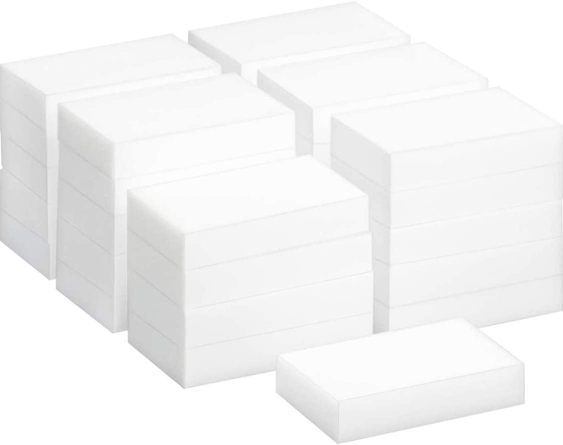 100 PCS Klickpick Home Magic Cleaning Sponge In Bulk White Sponges Melamine Foam Cleaning Pad - Eraser Sponge for All Surface – Bathroom, Kitchen, Floor, Baseboard, Wall Cleaner