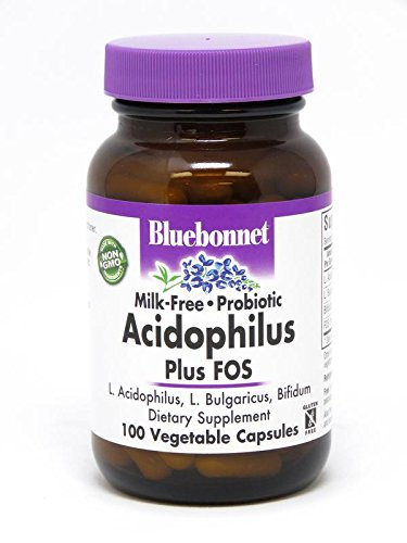 BlueBonnet Probiotic Acidophilus Plus FOS Vegetarian Capsules, 100 Count Refrigeration Required between 36° F and 46° (Free Test 100 Capsules)