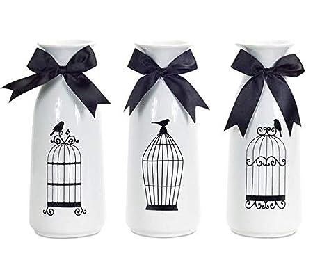 Pack de 6 diseño de jaula de pájaros de cerámica decorativa ...
