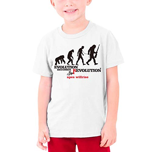 MiiyarHome Teenage T-Shirt Planet of The Apes, Kids Teen Short Causal Sleeves Tee Children White L (Age Of The Planet Of The Apes)