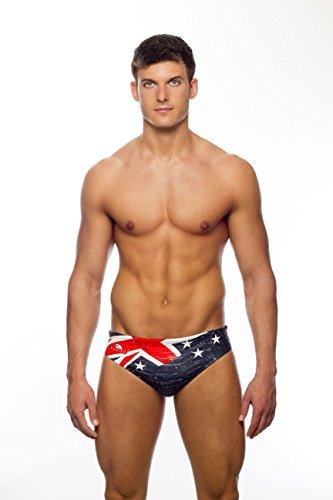 TURBO Badehose Herren NEW ZEALAND - Neuseeland Schwimmhose mit Union Jack + Kiwi für Triathlon Wettkampf Schwimmen