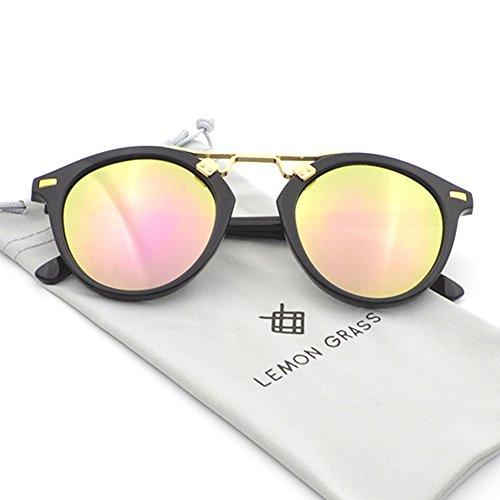 Womens Sunglasses Vintage Retro Round Mirrored Lens Horned Rim Sunglasses