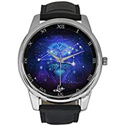 Men's Constellation Zodiac Sign Leo Stainless Steel Leather Strap Waterproof Band Wrist Watch