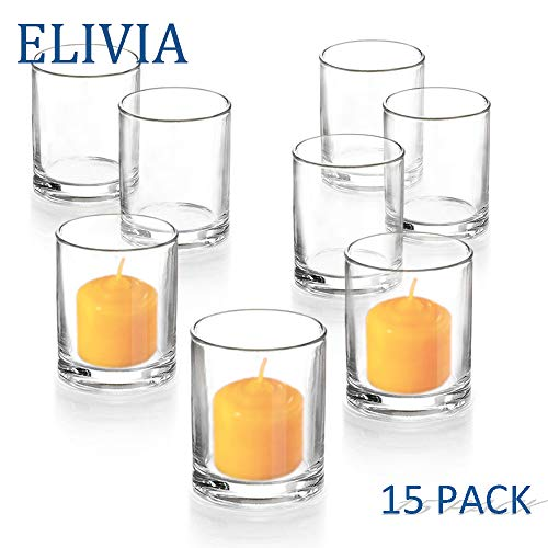 Tealight Holder Votive - Elivia Clear Votive Candle Holder - Set of 15, Tealight Candle Holder Glass Cup for Wedding or Home Decor
