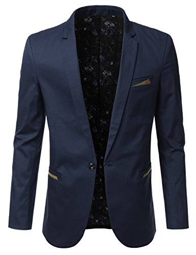 IDARBI Mens Slim Fit Casual Buttoned Blazer Suit Jacket Navy 2XL