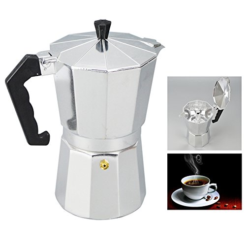 Cheap Aluminum 1/3/6/9/12 Cup Latte Mocha Coffee Pot Stove Top with Cool Handle Flip Top Lid Espress...