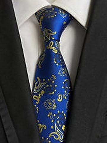 Jacob AleX #47181 Costume Floral Paisley Blue Flowers JACQUARD WOVEN Necktie