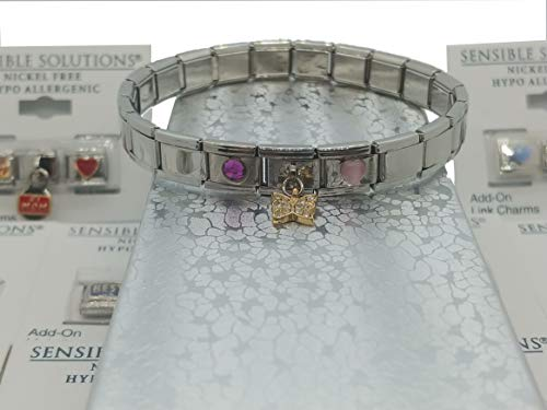 Sensible Solutions Stainless Steel Italian Link Charm Bracelet 3 Charms Pick Your Charms Silver Gift Box (Irish)