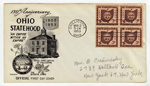 Stamp Block First Day Cover - United States Ohio Statehood Sesquicentennial Postage Stamp (Block of Four) Original First Day Cover # 1018 w/Cachet Fleetwood