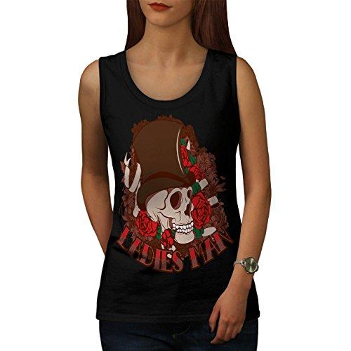 Ladies Man Skull Romantic Gent Women M Tank Top | Wellcoda (Birds Of War Costume)