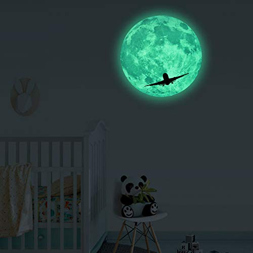 Glow in The Dark Moon Wall Decals with Plane, Glowing Wall Stickers for Ceiling Wall Decals Perfect for Kids Nursery Bedroom Living Room (Green,30 cm)