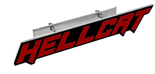 ERPART RED on Black Highly Polished Aluminum Hellcat Hell Cat Grille Grill Plaque Emblem Badge Nameplate Logo Decal Rare Compatible with Dodge Challenger Charger Jeep Chrysler (Srt Motor 4 Mounts)
