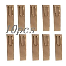 1-Bottle Light Brown Paper White and Red Wine Bag Holder, Pack of 10