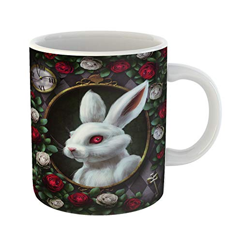 Emvency Funny Coffee Mug White Rabbit From Portrait in Oval Clock Key Red Roses and on Chess the Character 11 Oz Ceramic Coffee Mug Tea Cup Best Gift Or Souvenir