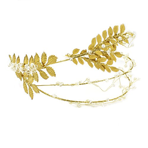 Greek Gold Olive Leaf Headband , OUMOU Handmade Roman Bridal Wedding Headpiece , Fabulous Greek Goddess Tiara Pageant Princess Crown (Luxury Greek Headband)