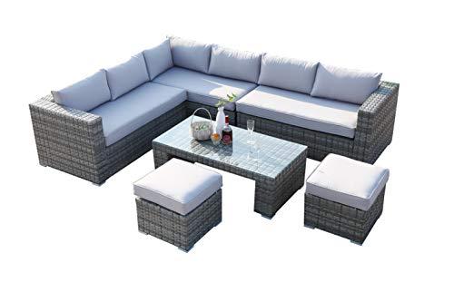 Ecosunny Rattan 8 seaters Convertible Corner Sofa