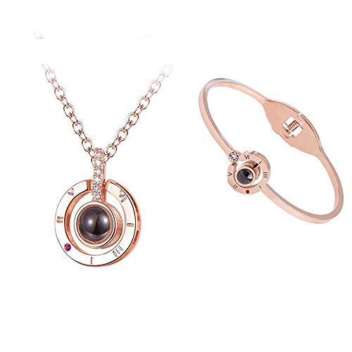- Feili Woman Necklace Love Memory 925 Silver Projection Pendant 100 Languages I Love You to Lover Grilfriend (Round in Rose Gold + Bracelet)