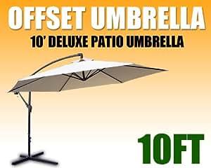 New Deluxe 10'patio al aire libre para colgar paraguas de sol Deco Gazebo, tienda de campaña, color beige