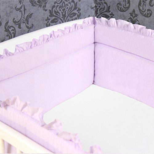 Bettumrandung Nestchen Kopfschutz 420x30 cm Bettnestchen Baby Einfarbig Lila mit Rüschen NEU