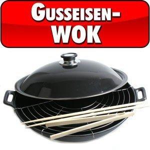 Big BBQ Wokpfanne Wok aus Gusseisen Ø 36 cm Abtropfgitter Deckel Zange Stäbchen