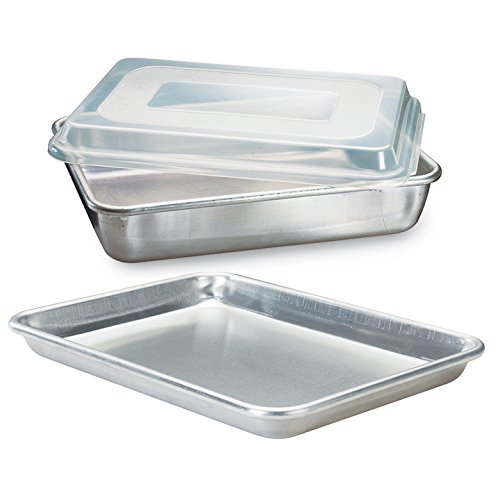 Aluminum Bakeware Set - Nordic Ware Natural Aluminum Commercial 3-Piece Baker's Set, Quarter Sheet and Cake Pan