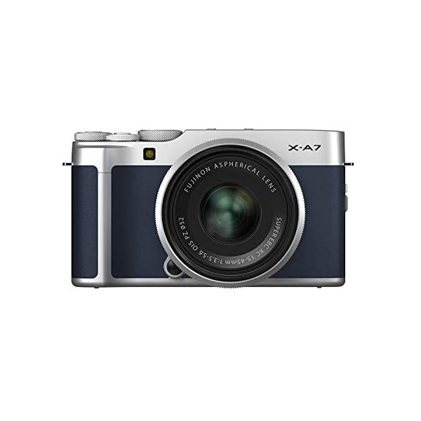 "RetinaPix Fujifilm X-A7 24.2 MP Mirrorless Camera with XC 15-45 mm Lens (APS-C Sensor, Large 3.5"" Vari-Angle Touchscreen, Face/Eye Auto Focus, 4K Video Vlogging, Blur Control, Film Simulations) - Navy Blue"
