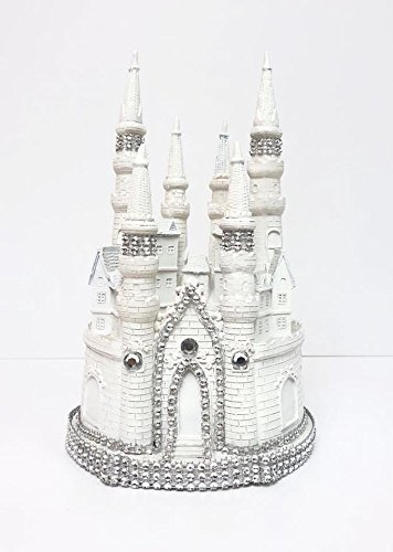 White Fairytale Castle Cake Top Cake Topper Decorated Centerpiece for Birthday Cake Topper or Wedding Cake Topper or Sweet 16 Cake Topper or Mis Quince Cake Topper -