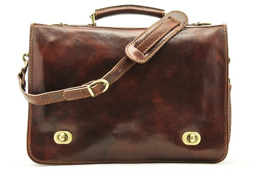 Alberto Bellucci Mens Italian Leather Nevio Double Compartment Laptop Messenger Bag in Brown by Alberto Bellucci