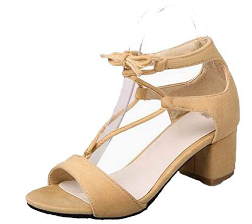 CCALP015393 Women's Toe Lace Sandals VogueZone009 Kitten Heels Open Frosted Solid up apricot vHqw8dq