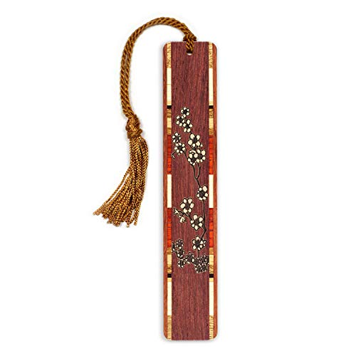 Cherry Blossoms -Flowers- Floral Engraved Wooden Bookmark with Tassel