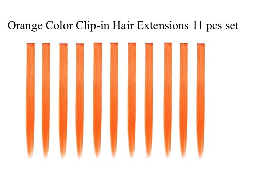 Beaute Galleria Bundle 11pcs Single Color 21 Inches Straight Party Highlights Clip In Synthetic Hair Extensions Cosplay Comic Con Halloween Costume -
