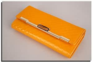 Ladies Wallet Candy Colour PU Leather Purse Billfold (Yellow)