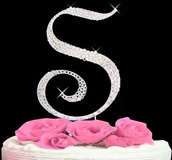 letter s swarovski crystal monogram wedding cake topper letter